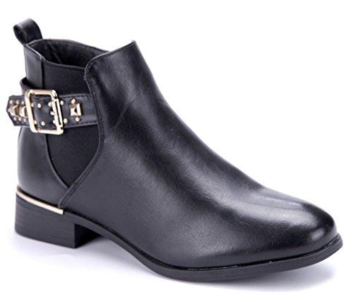 Schuhtempel24 Damen Schuhe Klassische Stiefeletten Stiefel Boots Blockabsatz Schnalle/Nieten 3 cm Schwarz