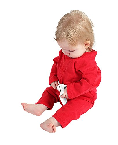 Baby Grappling Organic BJJ Jiu-jitsu Baby Gi Playsuit, Red with White Belt, 3-6 Mo - Karate Gi Costume