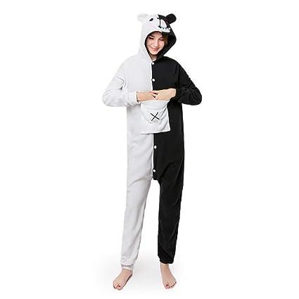 SHANGXIAN Kigurumi Onesies Adulto Pijama Dibujos Animados Negro White Bear Cosplay Disfraces Jumpsuit Animal Ropa De