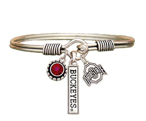 Sports Accessory Store Ohio State Buckeyes 3 Charm Red Crystal Silver Wire Bracelet Jewelry NCAA OSU