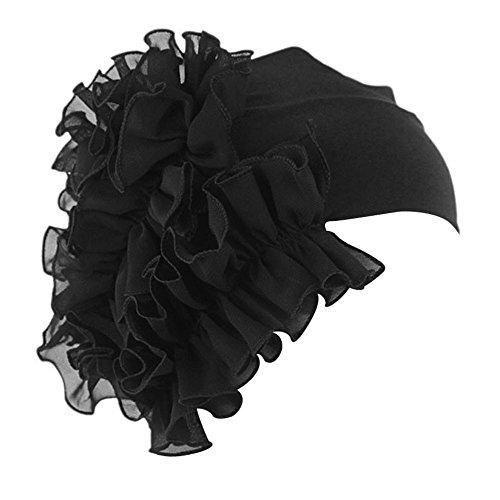 QingFan Women Flower Solid Ruffle Cancer Chemo Elegant Hat Beanie Turban African Head Scarf Wrap Cap (Black)