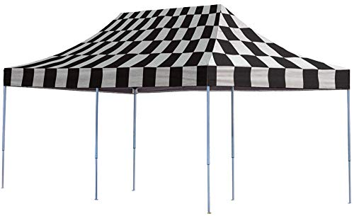 ShelterLogic Easy Set-Up 10 x 20-Feet Straight Leg 50+ UPF Protection Pop-Up Canopy with Roller Storage Bag for the Beach, Park, Tailgating, and Other Outdoor Activities, Checkered Flag