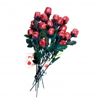 Valentine's Day Red Sweetheart Roses Solid Milk Chocolate Bouquet (12 Pcs) (Chocolate Roses Bouquet)