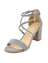 Smilice Women Dressy & Fashion Sandals Open Toe Cross Strap Mid Block Heel Shoes