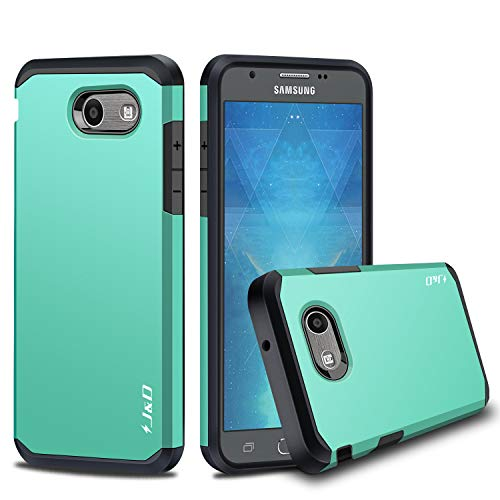 J&D Case Compatible for Galaxy J3 Emerge/Galaxy J3 2017 / Galaxy J3 Prime Case, Heavy Duty [Dual Layer] Hybrid Shock Proof Protective Rugged Bumper Case for Samsung Galaxy J3 Emerge Case - Mint