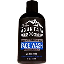 Face Wash Cleanser for Men - Non-Irritating Sensitive Hydrating Unscented for All Skin Types - Paraben & SLS Free with Jojoba Oil, Argan Oil, Chamomile Floral water, Aloe Vera - Clog-Free Cleanse