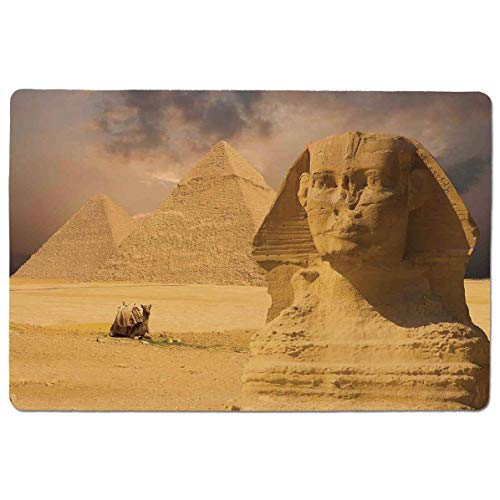 SCOCICI Gaming Locking Mouse Pad,The Great Sphinx Face with Other Pyramids in Egypt Old Historical Monument Customized Rectangle Non-Slip Rubber Mousepad Gaming Mouse Pad 23.6