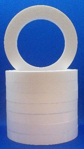 8 pc Styrofoam EPS Polystyrene WREATHS 16'' X 2'' White Craft Floral Ring by Transylvania Wholesale Designs (Image #2)