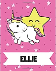 Ellie: Unicorn Primary Handwriting Notebook For Girls With Ellie Name On Cover - Kindergarten Handwriting Practice Paper - 8.5 x 11 inches - 110 Pages
