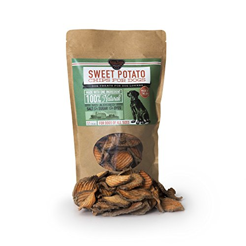 Sweet Potato Chips for Dogs - 100% Natural, American Grown and Made, Grain Free, Salt Free, Soy Free, No Artificial Flavors or Preservatives, 4 ounce bag
