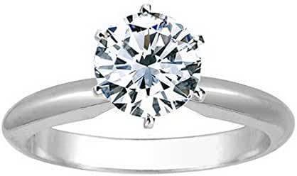 1/4 Carat 14K White Gold Round Cut 6 Prong Solitaire Diamond Engagement Ring (0.25 Carat F-G Color I2 Clarity)