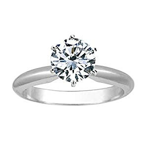 1 1/2 Carat 14K White Gold Round Cut 6 Prong Solitaire Diamond Engagement Ring (1.5 Carat J K Color SI2 I1 Clarity)