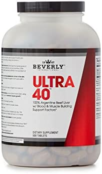 Beverly International Ultra 40 Desiccated Liver, 500 Tablets. Golden-era Secret for Boosting Muscle Growth, Stamina and Performance Naturally.