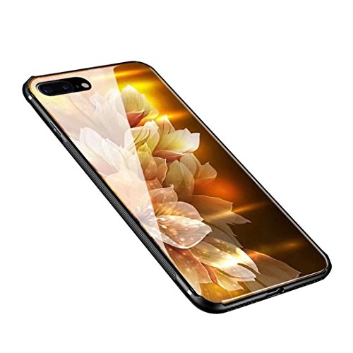 Anyos iPhone 7plus 8 Plus Case, Tempered Glass Pattern Painted Mirror Bumper Cover for iphone7 8plus (Lily)