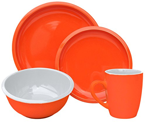 Melange 16 Piece Contempo Cantina 2-Tone Stoneware Dinner Set Place Setting, Serving for 4, ()
