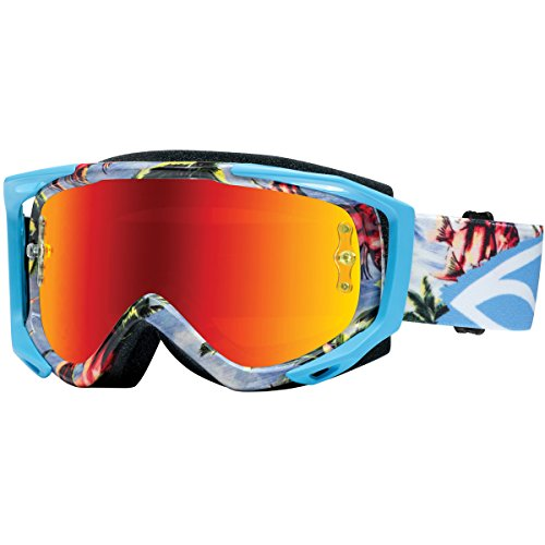 (Smith Optics Fuel v.2 Sweat X M Motocross Goggles (Blue Burnout Frame/Red Mirror, Clear Lens))