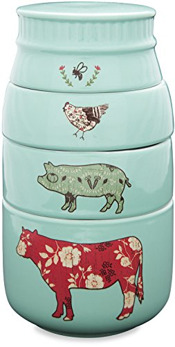 Pavilion Gift Company 23130 Live Simply Bee Chicken Pig and Cow Measuring Cups, Teal ()