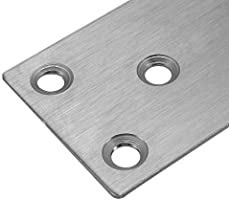 98x49mm//3.85/'/'x1.92/'/' Guangzhoulibomaoyiyouxiangongsi Pack of 12 Autoly 6 Holes Flat Straight Mending Fixing Plates Brackets Stainless Steel Furniture Corner Brace Pack of 12 98x49mm//3.85x1.92