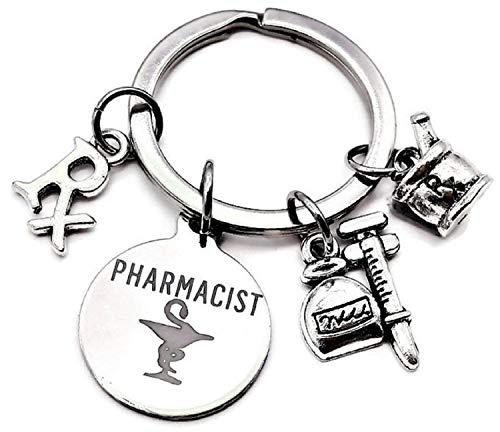 Pharmacist Keychain, Rx Pharmacy Keychain, RX Symbol Keychain, RX Mortar and Pestle Bowl Charm, Gift for Pharmacist, Syringe Keychain, Pharmacist Charm, RX Charm, Pharmacy Charm, Pharmacist Key Ring