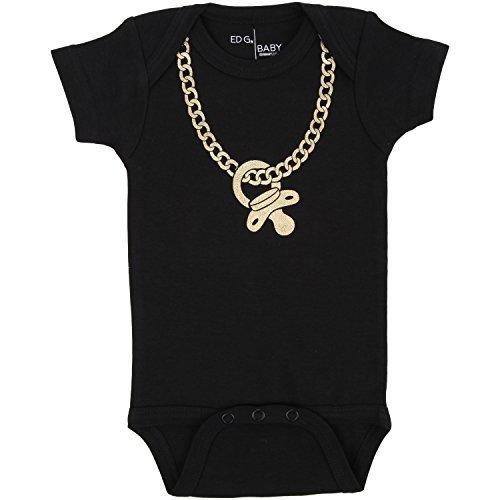 GOLD CHAINZ Bodysuit in Black by ED G Baby. (0-6 M)
