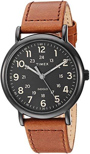 Timex Men's TW2T30500 Weekender 40 Brown/Black Two-Piece Leather Strap Watch (Mens Timex Brown Watch)