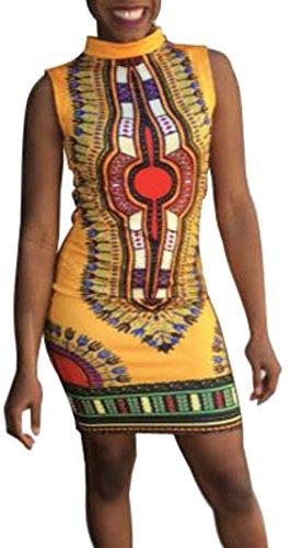 Abito Stampa Bodycon Mini Senza Cappuccio Africano Domple Donne Dashiki Partito Maniche Giallo wEqvapa86