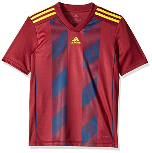 adidas Striped19 Youth Soccer Jersey, Collegiate Burgundy/Bright Yellow, Large