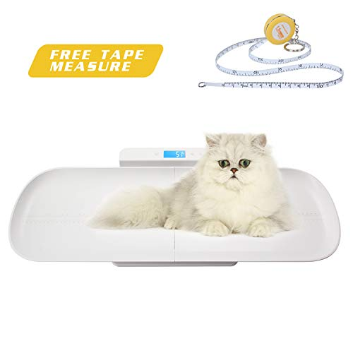 BYKAZATY Pet Scale with Tape Measure, Multi-Function Baby Scale, Infant Scale Digital Weight with Height Tray(Max: 70cm), Measure Weight Accurately(Max: 220lb), Perfect for Toddler/Puppy/Cat/Dog/Adult