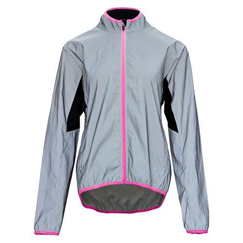 Bpbtti Women's Reflective Safety Running Cycling Jackets Lightweight Windbreaker- Full Front Zipper & Two Side Pockets