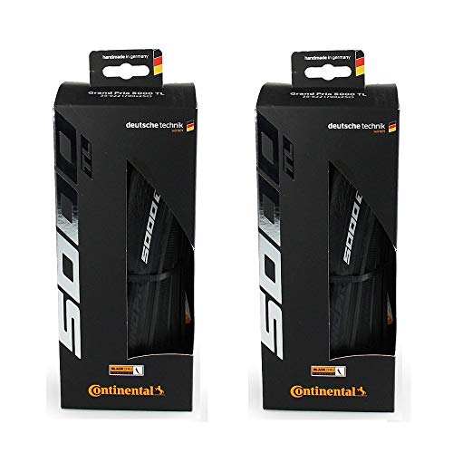 Continental Set of 2 GP 5000 TL, 700x32C, Racing Bike Tires, Tubeless, Black, Folding, 0101630
