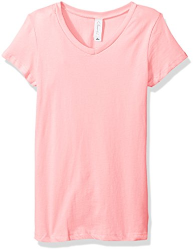 Clementine Apparel Big Girls' Everyday Short-Sleeve Princess V-Neck Tee, Light Pink, Medium (Big Kids Light Pink Apparel)