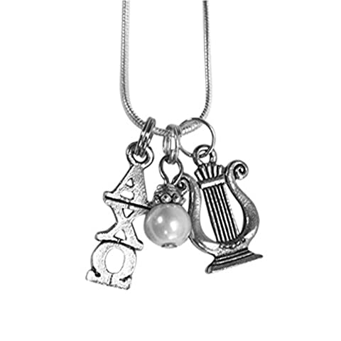 Alpha Chi Omega Sorority Triple Charm Set Lavalier 18 Inches with Simulated Pearl and Mascot Charm Necklace (Chief Keef Pendant)