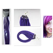 Style 18'' Easy Loops Micro Rings Beads Tipped 100% Real Human Hair Extensions Straight Hair Color Lila/Light Purple Beauty Design Salon by COOL-BEAUTY