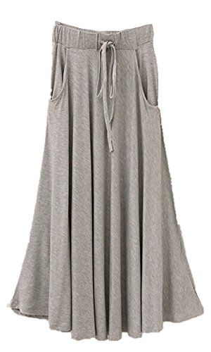 Superbaby Women Junior Drawing Pockets Cotton Stretchy Pleated Long (Canvas Cotton Skirt)