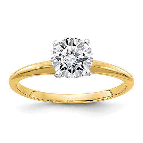 14ky 1.75ct. 7.5mm Moissanite Solitaire Ring, Size: 7, 14 kt Yellow Gold ()
