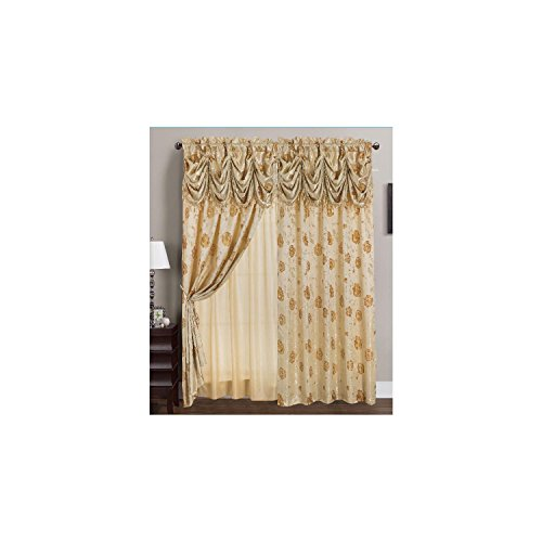 (RT Designers Collection Kelly Jacquard 54 x 84 in. Rod Pocket Curtain Panel w/ Attached 18 in. Valance, Gold)