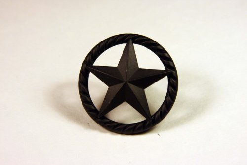 Star Hardware (Western Knob with Raised Star and Rope Detail in Matte Black)