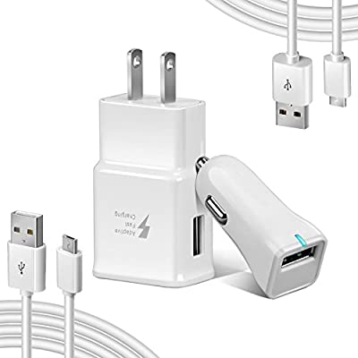 Axmda Adaptive Fast Charger Kit for Samsung Galaxy S6/Galaxy S7 & S7 Edge,Quick Charge 2.0 Adapter Micro USB 2.0 Cable Kit (Wall Charger + Car Charger + 2 x Micro Cable) for Note 4, S3,and more