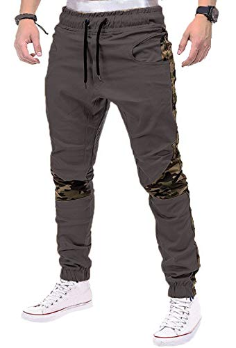Men's Chino Jogger Pant Stitching Camouflage Cargo Casual Trousers Dark Gray XL