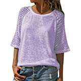 Women's Casual T-Shirt,Lace Patchwork 3/4 Sleeve O-Neck Top S-5XL, Semi-Sheer Fashion Style for Ladies