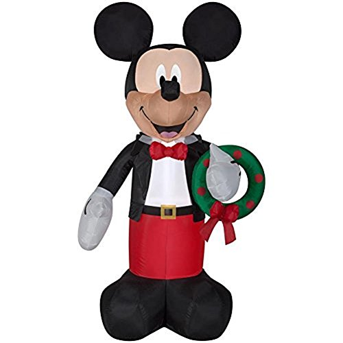 Gemmy Inflatable 6ft Mickey Mouse with Wreath Indoor/Outdoor Christmas Decoration Disney Holiday