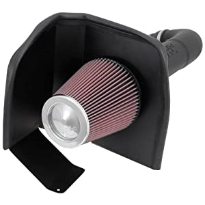K&N Performance Air Intake Kit 63-3082 with Black HDPE Tube and Lifetime Red Oiled Filter for Escalade, Silverado 1500, Suburban, Tahoe, Sierra, Yukon, Denali, XL