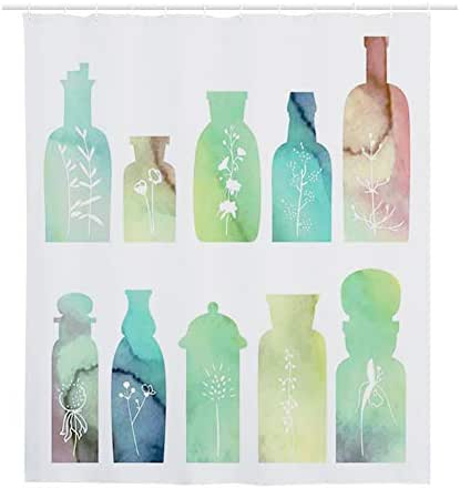 GULTMEE Funny Shower Curtain,Vintage Watercolor Botanical Herbal Treatment Bottles Medicine Aromatic Nature,Cloth Fabric Bathroom Decor Set with Hooks 60x72 Inches