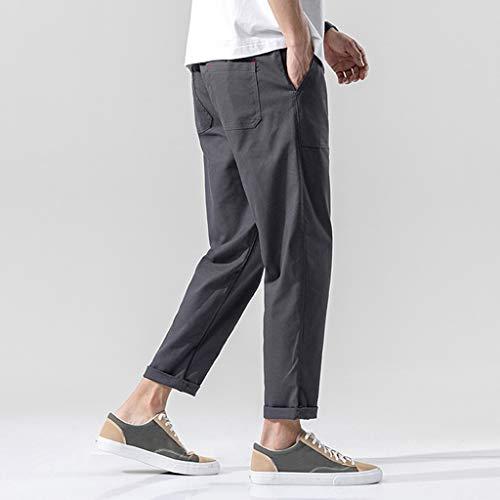 HommeZycshang Regular Pants En Casual Coton Loisirs Grande Taper Pantalon Biker Couleur Taille Street La Dark De Gray Été Trousers Lin Les Unie Mode Pantalons Serrage Poche Cordon dqa8w6d