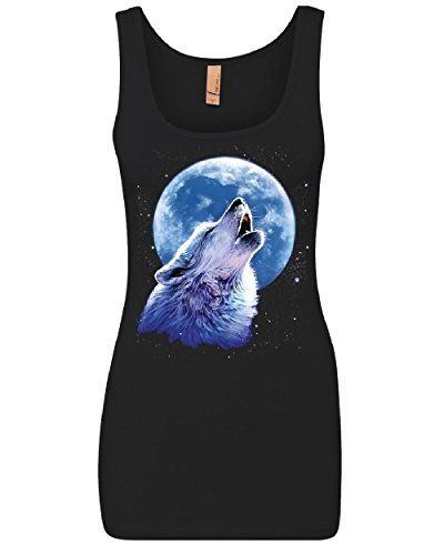 Call of The Wild Women's Tank Top Lone Wolf Howling at The Moon Wildlife Top Black M ()