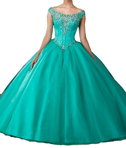 Long Prom Dress Tulle Scoop Neck Beaded Quinceanera Dresses For Sweet 16 Girls 18 US Turquoise