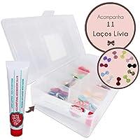 Cola Para Laços Girlie Glue + 11 Laços Lívia Em Cx Organizadora