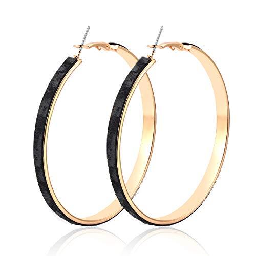 (ZITULRY Genuine Leather Fur Hoop Earrings for Women Gold Tone Hoops Bohemian Leopard Print Earrings Big Round Circle Pierced Earrings Fashion Jewelry (Leopard Black))