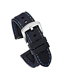 20mm Quick Release Silicone Watch Strap for Samsung Gear S2 Classic Replacement Watch Band Black(Blue Stitching Silver Buckle)