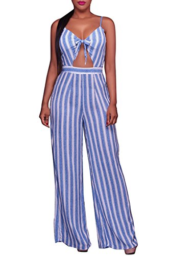Linsery Women Sexy Striped Strap V-Neck Long Wide Leg Pants Evening Jumpsuit